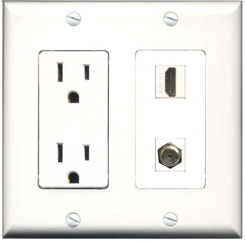 Riteav - 15 Amp Power Outlet And 1 Port Hdmi And 1 Port Coax Cable Tv- F-Type Decora Type Wall Plate White