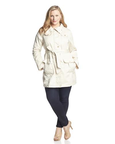 Ellen Tracy Women's Plus Belted 4-Pocket Trench Coat