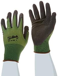 G-Tek 34-400/L Active Grip Black Nitrile Seamless Gloves with Micro Surface Grip and Nylon Liner, Green/Black, Large, 18-Gauge, 1-Dozen