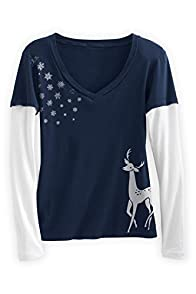 Green 3 Apparel Layered Look Falling Snowflakes Organic Made in USA T-shirt