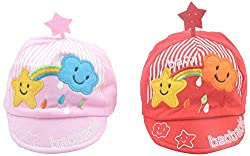 Kandyfloss Babies Caps - Pack of 2 Caps (MRHKFCAPS15, Multi-Colored, 3-6 Months)