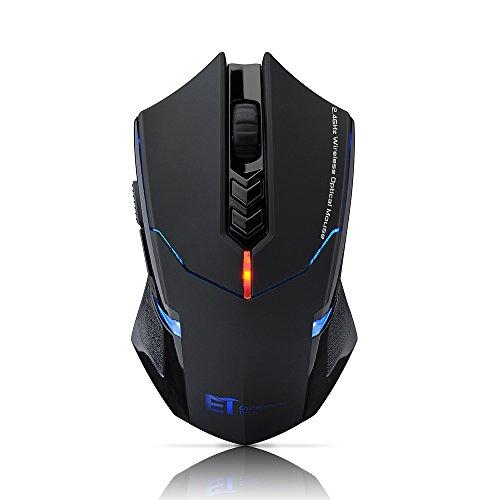 VicTsing 2.4G Mouse da Gaming Wireless 2400DPI Regolabile 800-1200-1600-2000-2400 CPI Ottico Gaming Mouse Mouse da Gioco senza fili con Ricevitore per giocatore professionista - Nero