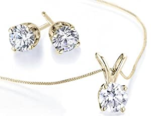 Diamond Solitaire Necklace & Diamond Stud Earrings Set 1/2 Carat (ctw) in 14K Yellow Gold