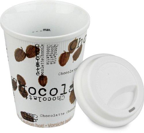 Konitz 9-Ounce Chocolatte Traveler's Mugs with Silicone Lid, Set of 4