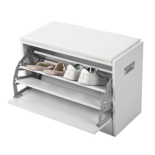 Shoe Bench Cabinet Rack with Cushion, Soft Pad Seat Wood Shoes Storage Organizer Closet Standing Rack Shelf Holder White
