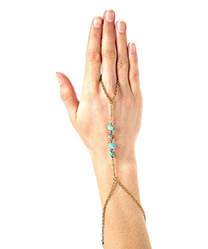 Lux & accessori, colore: turchese, taglio lucido da polso a bracciale, ad anello
