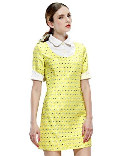 Elf Sack Womens Autumn Dress Half Sleeve Feather Jacquard False Two-Piece Large Size Yellow