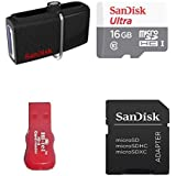 Sandisk 32 GB Dual OTG Pen Drive And 16 GB Ultra Class10 Memory Card With SD Adapter And Card Reader Combo Set
