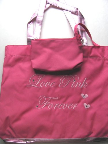 Big For Everything Love Pink Forever Gusseted Canvas Tote Bag. front-590705