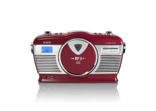 iCES ISCD-33 tragbares Retro-Radio mit CD/MP3-Player (USB) cremeweiß