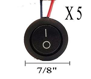 Buy IMC AUDIO RRS-2W- Five 5 Pieces 12V w  8 Lead Wire ON OFF Round Rocker Switch by IMC Audio
