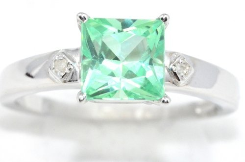 Simulated Green Sapphire & Diamond Princess Cut Ring .925 Sterling Silver Rhodium Finish (Elizabeth Jewelry Inc Sapphire compare prices)