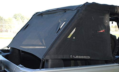 Alien Sunshade Jeep Wrangler Mesh Cage Shade Protects Your Cargo Area From Harmful UV Rays for Your 4-Door JKU (2006-2017) (Original Black) (Camper Top Door compare prices)