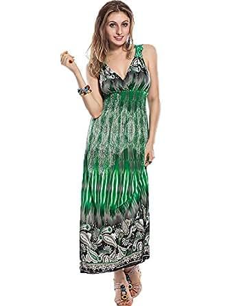 Yummy Bee Women's Summer Floral Print Long Maxi Dress