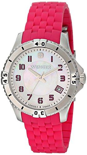 Wenger Femme Bracelet Caoutchouc Rose Boitier Acier Inoxydable Quartz Cadran Nacre Date Montre 0121,101