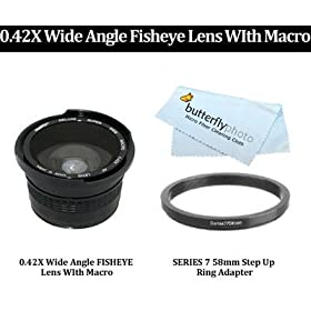 Sony Handycam DCR-DVD308 High Definition 0.45x Wide Angle Lens w//Macro 30mm 37mm + Nwv Direct Microfiber Cleaning Cloth Stepping Ring 30-37mm + 3 Piece Lens Filter Kit