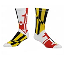 Maryland Flag Crew Socks (White, Large)