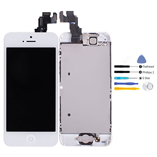 Complete Lcd Display + Touch Screen Glass Digitizer Full Assembly For Iphone 5C (White) With Spare Parts (Home Button & Front Camera & Proximity Cable Sensor & Water Sticker) + Free Tool Kit