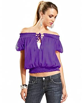 bebe.com : Blouson Chiffon V Neck Top