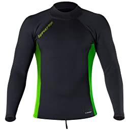Hyperflex Wetsuits Men\'s Voodoo 1.5mm Pullover Jacket, Black/Green, Large - Surfing, Windsurfing & Wakeboarding