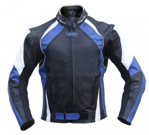 Lederjacke Motorradjacke Chopperjacke Jacke aus leder Kombijacke Schwarz/Blau, Größe:48