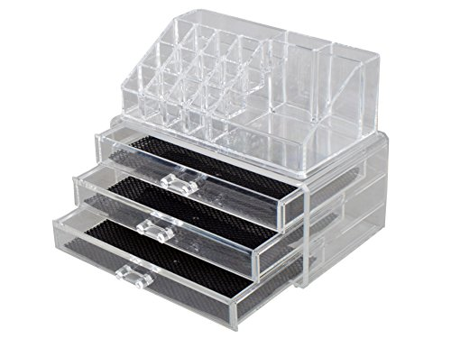 TMS Makeup Cosmetics Jewelry Organizer Clear Acrylic 3 Drawers Display Box Storage (Tabletop Cosmetic Organizer compare prices)