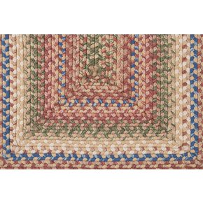5' x 8' Country Squares Red and Sage Green Braided Reversable Area Throw Rug