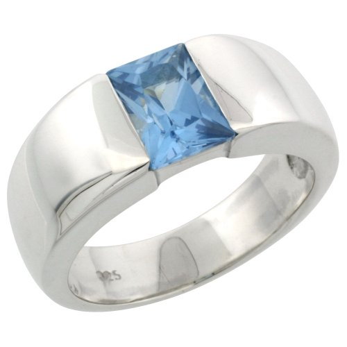 Sterling Silver 1.5 Carat Size Emerald Cut Blue Topaz Colored CZ Men&#8217;s Solitaire Ring (Available in Sizes 8 to 13) size 10