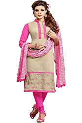 ZHot Fashion Women's Embroidered Un-stitched Dress Material In Cotton Fabric (ZHDM1016) Beige