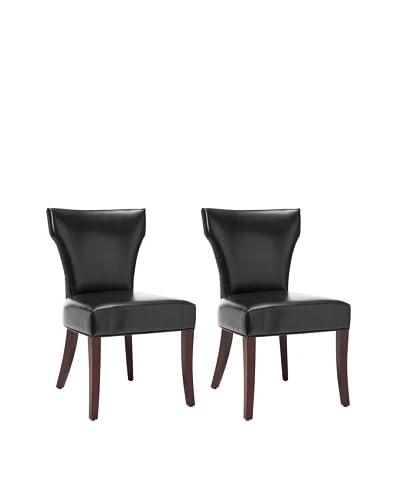 Safavieh Set of 2 Ryan Leather Side Chairs, Black