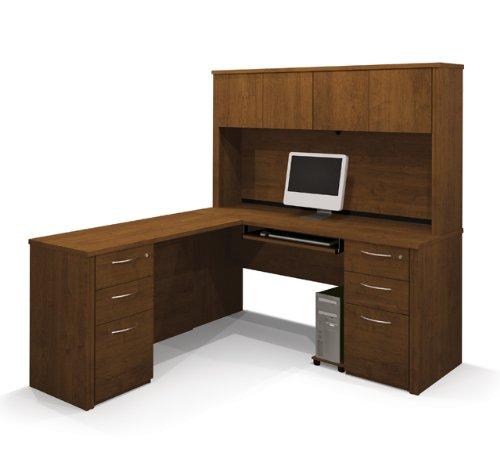 shaped double pedestal desk with hutch pre assembled pedestals