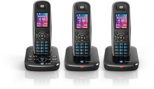 BT Aura 1500 Trio Digital Cordless Phone with Answering Machine - Black /Chrome images