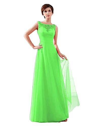 Beauty-Emily Women'S Lace Sleeveless Long Prom Dresses Color Light Green,Size Us10