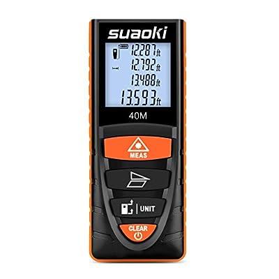 Suaoki D8 Smart Digital Distance Laser Meter, 4¡¯¡¯ Backlit LCD Screen, Single-distance Measurement/ Continuous Measurement/ Area/ Pythagorean Modes, Orange