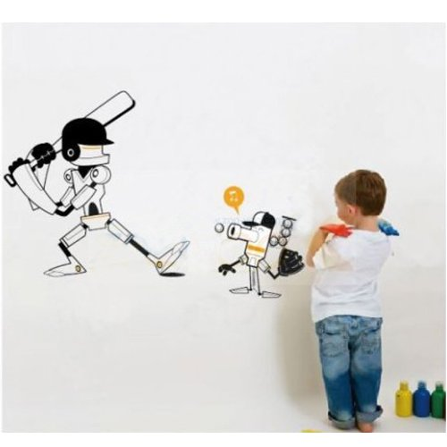 Mzy Llc (Tm) Black Baseball Robot Sports Sport Boy Room Wall Stickers Home Art Vinyl Wall Decal Decor front-4880
