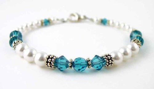 Blue Zircon Bracelets: Swarovski Crystal Beaded Pearl Bracelets in Sterling Silver