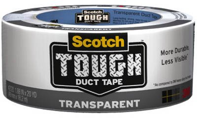 3M Scotch Transparent Duct Tape, 1.88-Inch by 20-Yard