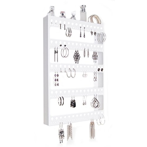 Wall mount earring holder hanging jewelry organizer closet for Bathroom jewelry holder