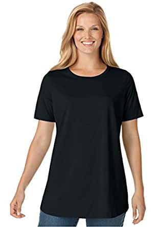 Women's Plus Size Top, Perfect Crewneck Tee In Soft Cotton Knit Black,M