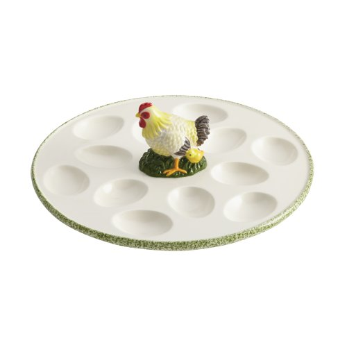 Paula Deen Signature Serveware Southern Rooster 10-Inch Stoneware Egg Tray, Print