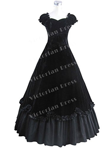 Southern Belle Vintage Gothic Civil War Velvet Party Evening Dress Prom Gown
