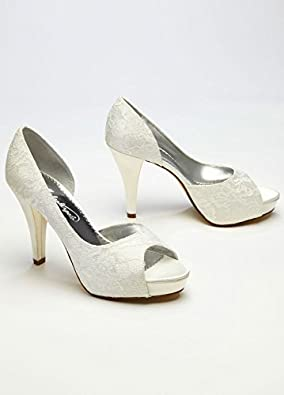 Wedding & Bridesmaid Shoes Lace Sequin D Orsay Peep Toe Style LEIGHTON, White...