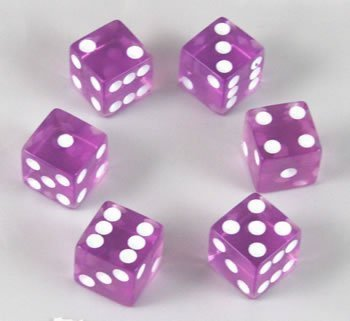16mm Transparent Purple D6 Dice