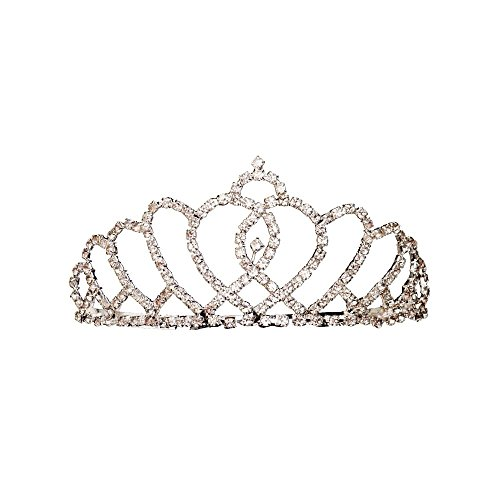 Jacobson Hat Company Women's Rhinestone Tiara Style 3, Silver, Adult