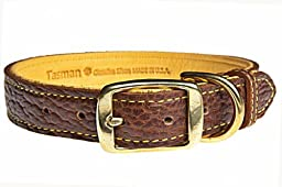 Tasman\'s Natural Pet Premium Tucson Bison Leather Dog Collar - Peanut Brown, Gold Lined, 15in