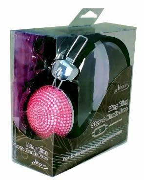 Pink Crystal Rhinestone Hands Free Bling Dj Over-Ear Headphone