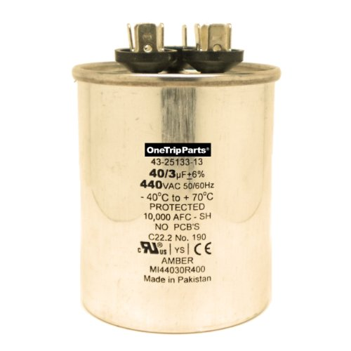 CAPACITOR 40+3 MFD 440 VAC ROUND ONETRIP PARTS®  DIRECT REPLACEMENT FOR RHEEM RUUD WEATHERKING OEM PART 43-25133-13