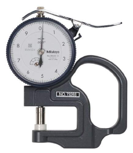 Mitutoyo 7326S Dial Thickness Gauge, Inch, Flat Anvil, Fine Dial Reading Type, 0-0.05