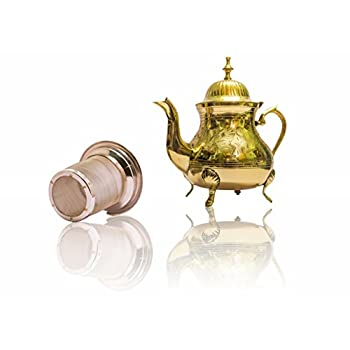 Handmade Tea Gift Set- Premium Brass Teapot with Stainless Steel Infuser for Loose Leaf Teas-Handmade Antique Vintage Design to Suit Modern & Traditional Home Decor Themes-25oz
