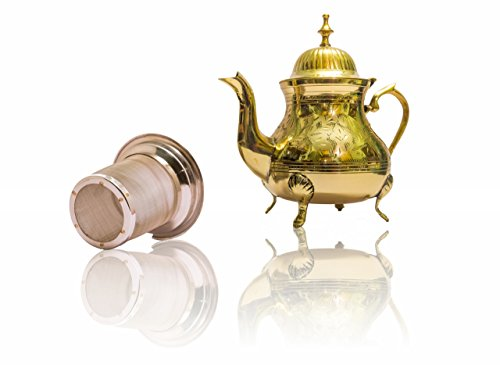 Handmade Tea Gift Set- Premium Brass Teapot with Stainless Steel Infuser for Loose Leaf Teas-Handmade Antique Vintage Design to Suit Modern & Traditional Home Decor Themes-25oz 0